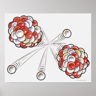 割れ目原子および中性子のイラストレーション ポスター