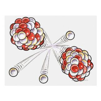 割れ目原子および中性子のイラストレーション ポストカード