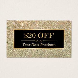 割引クーポンの美容院の粋な金ゴールドのグリッター 名刺