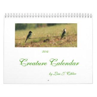 創造物のカレンダー2014の獣および鳥 カレンダー