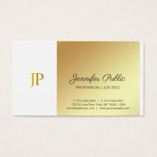 創造的なモノグラムの白および金ゴールドの明白な贅沢 名刺