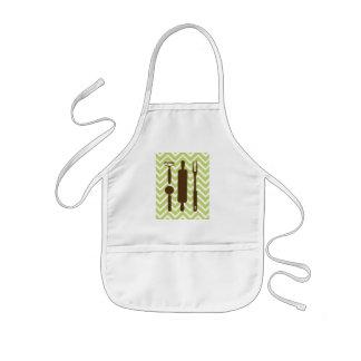 創造的な台所-シェブロンの麺棒 子供用エプロン