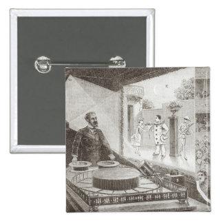 「劇場Optique」および発明家 5.1cm 正方形バッジ