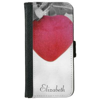 劇的で赤いハート形のApple iPhone 6/6s ウォレットケース