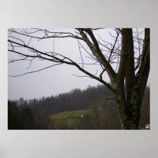 劇的な木は彼の範囲を調査します プリント