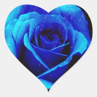 劇的な青のバラ ハートシール