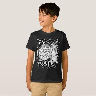 力のカップルの白黒Tシャツの子供 Tシャツ