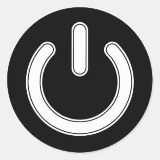 力の記号(白黒) ラウンドシール