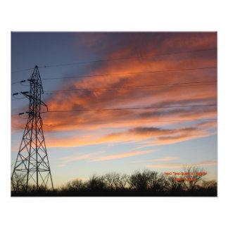 力タワーの日没の写真 フォトプリント