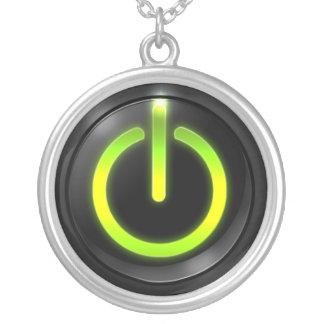 力ボタンのネックレス シルバープレートネックレス