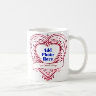 加えて下さい 特別 メッセージ 写真 赤い ハート マグカップ