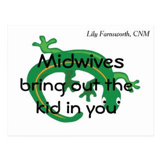 助産婦および緑トカゲのねじれ ポストカード