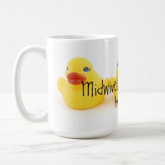 助産婦および黄色いゴム製アヒル コーヒーマグカップ