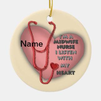 助産婦のナースの赤いハート セラミックオーナメント