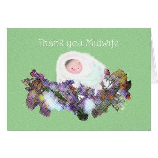 助産婦、ベビーおよび花の花輪ありがとう カード