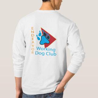 努力の作業犬クラブロゴの長袖のワイシャツ Tシャツ
