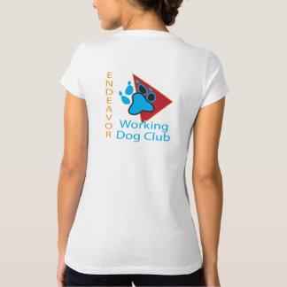 努力の作業犬クラブロゴのV首のワイシャツ Tシャツ