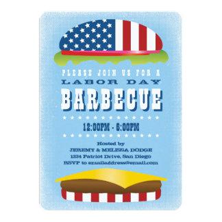 労働者の日の愛国心が強いハンバーガーのバーベキュー カード