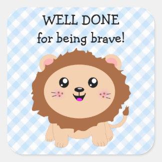 勇敢があることのためにされる井戸-かわいいライオン スクエアシール