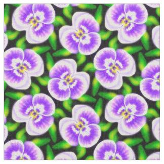 勇敢なパンジーの白い紫色の花の抽象芸術の生地 ファブリック