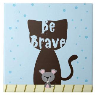 勇敢な猫およびかわいいマウスがあって下さい タイル