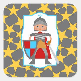 勇敢な騎士男の子の誕生会 スクエアシール