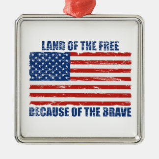 勇敢ののために自由のの土地 メタルオーナメント