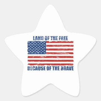 勇敢ののために自由のの土地 星シール