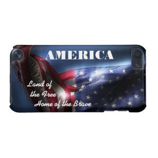 勇敢のの自由家のアメリカ土地+旗 iPod TOUCH 5G ケース