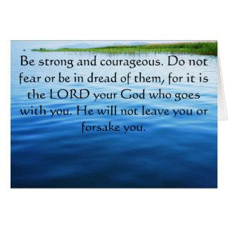 勇気についてのDeuteronomyの31:6の聖書の詩 カード