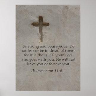 勇気についてのDeuteronomyの31:6の聖書の詩 ポスター
