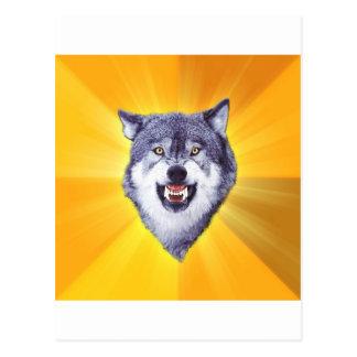 勇気のオオカミのアドバイスの動物のインターネットのミーム ポストカード