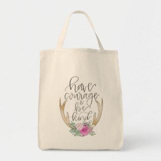 勇気を持って下さい、親切な食料雑貨のトートがあって下さい トートバッグ