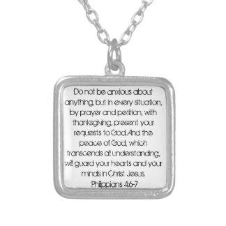 勇気付けられるの聖書の詩のPhilippiansの4:6のネックレス シルバープレートネックレス