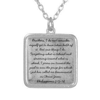 勇気付けられるの聖書の詩のPhilippians 3のネックレス シルバープレートネックレス