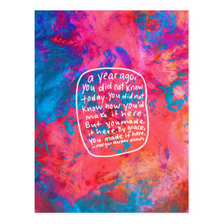 勇気付けられるの郵便はがきの引用文の抽象美術のピンク ポストカード