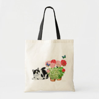 勇気猫および蝶バッグ トートバッグ