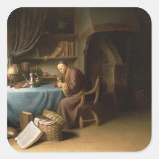 勉強の彼の管をつけている老人 スクエアシール