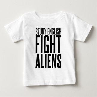 勉強の英語、戦いのエイリアン ベビーTシャツ