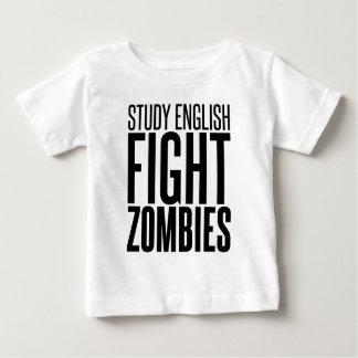 勉強の英語、戦いのゾンビ ベビーTシャツ