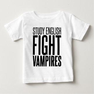 勉強の英語、戦いの吸血鬼 ベビーTシャツ