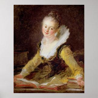 勉強、か歌、c.1769 ポスター