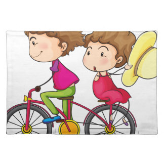 動きが速いバイクの女の子そして男の子の乗馬 ランチョンマット