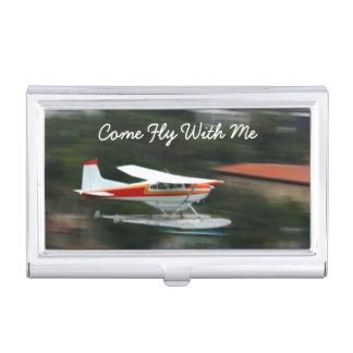動きの写真の飛行機をカスタマイズ 名刺入れ