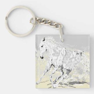 動きのKeychainの白い種馬 キーホルダー