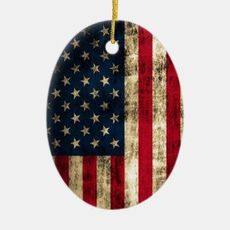 動揺してでグランジな米国旗 セラミックオーナメント