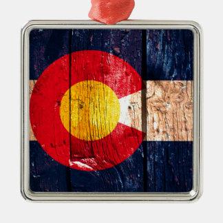 動揺してで素朴な木のコロラド州の旗のオーナメント メタルオーナメント