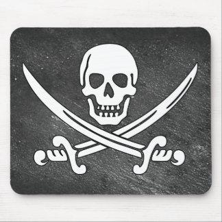 動揺してで黒いスカルおよび海賊剣 マウスパッド
