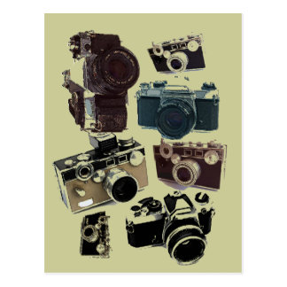 動揺してなカメラマンの写真撮影のレトロのカメラ ポストカード