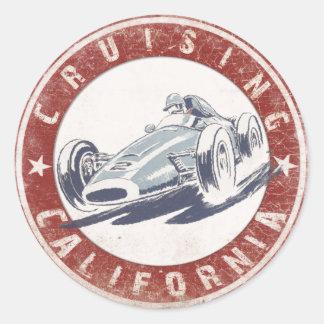 動揺してなカリフォルニアクルージングのプリントが付いているステッカー ラウンドシール